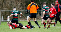 Regent House go over to score against Cambridge House in their Danske Bank 3rd round Schools Cup clash at Eaton Park.